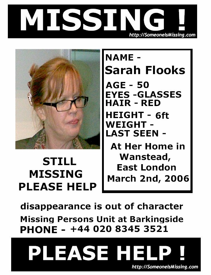 Sarah Flooks (147682 Bytes)  Missing People Posters