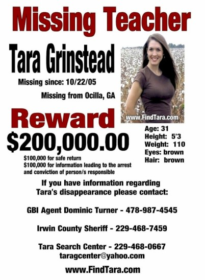 Tara Grinstead Ocilla GA Missing People Help – Missing Person Flyer
