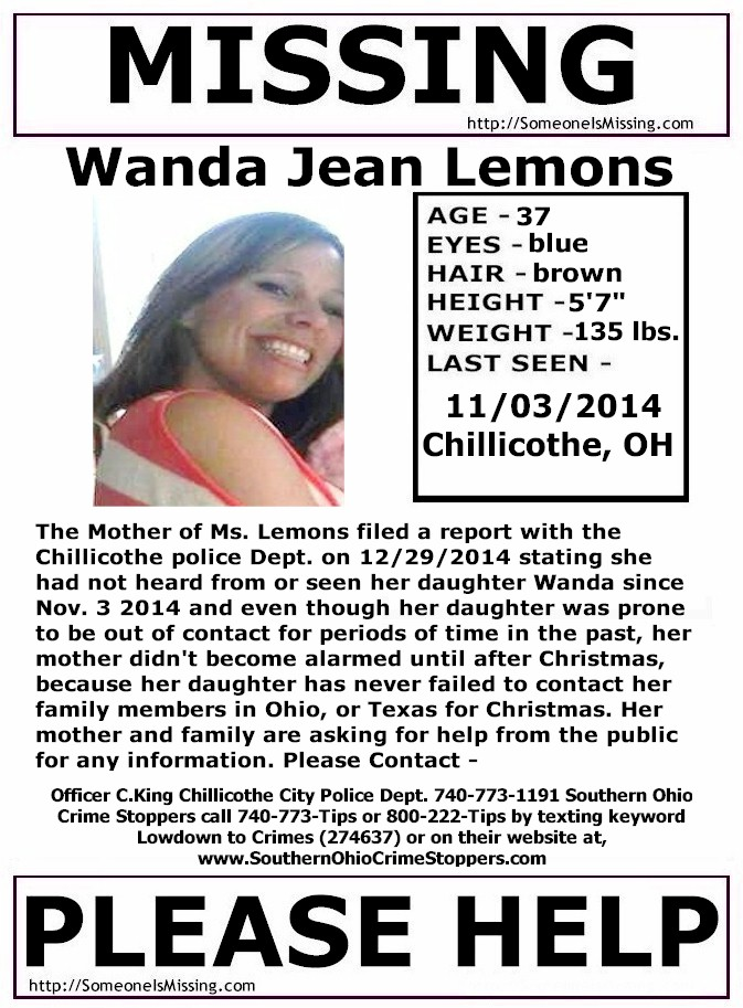 Wanda Jean Lemons – Chillicothe, OH : Missing People Help