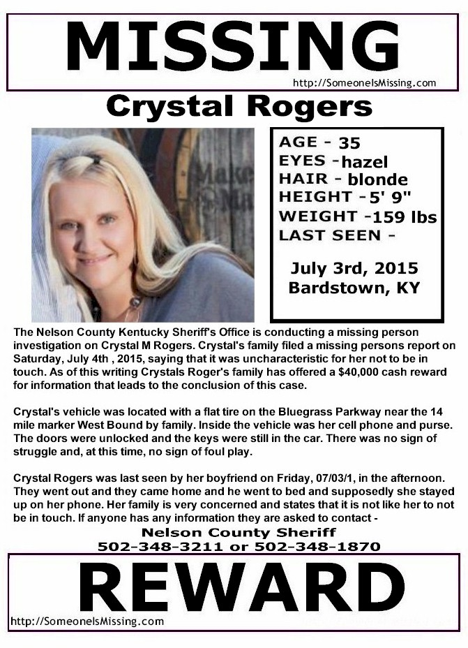 Crystal Rogers, 35, Missing Since July 3rd, 2015 - Bardstown, KY Crystal-rogers
