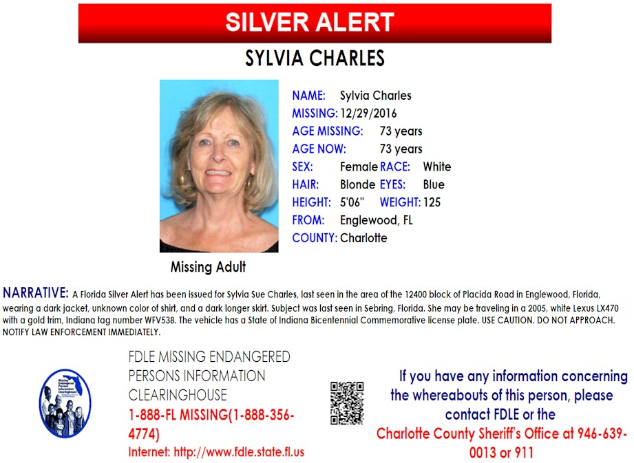 Sylvia Charles Englewood Fl Missing People Help – Missing Person Flyer
