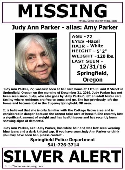 Judy Parker goes by Amy Parker and is missing from Springfield, Or