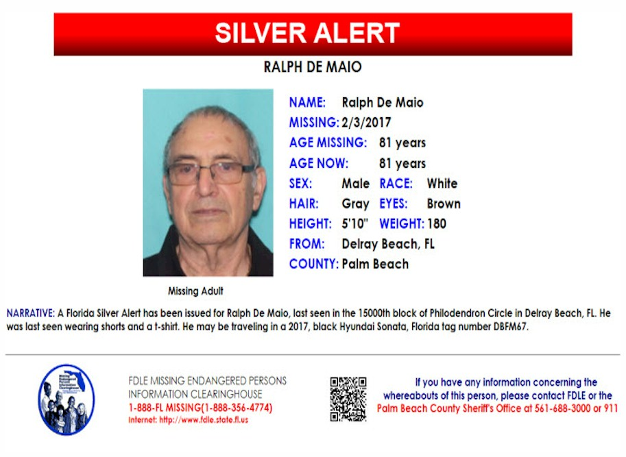Ralph De Maio – Delray Beach, Fl : Missing People Help